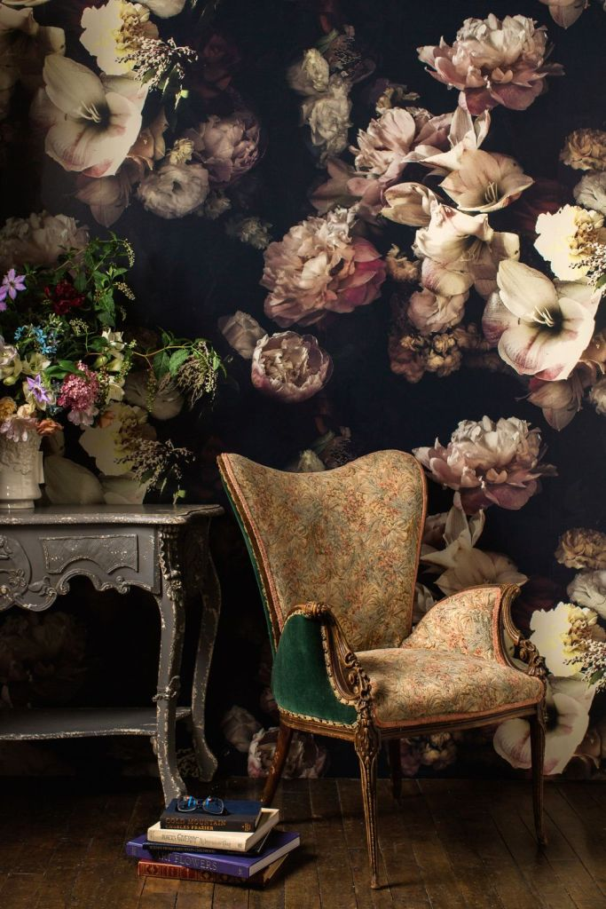 A Living Room With Victorian-Inspired Floral Wallpaper
