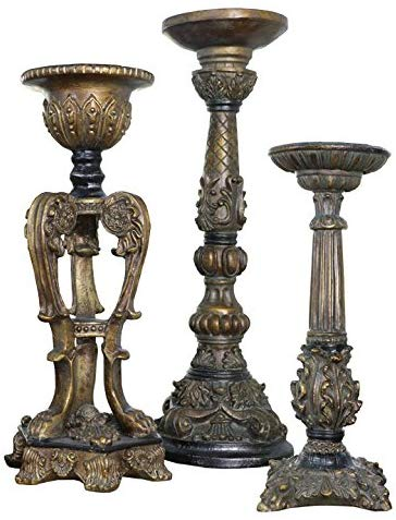 Antique Inspired Bronze Candelabras, Set of Three
