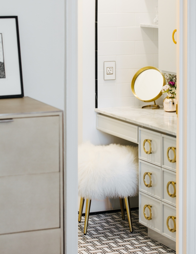 Glamorous, small space vanity idea: use a stool instead of a chair