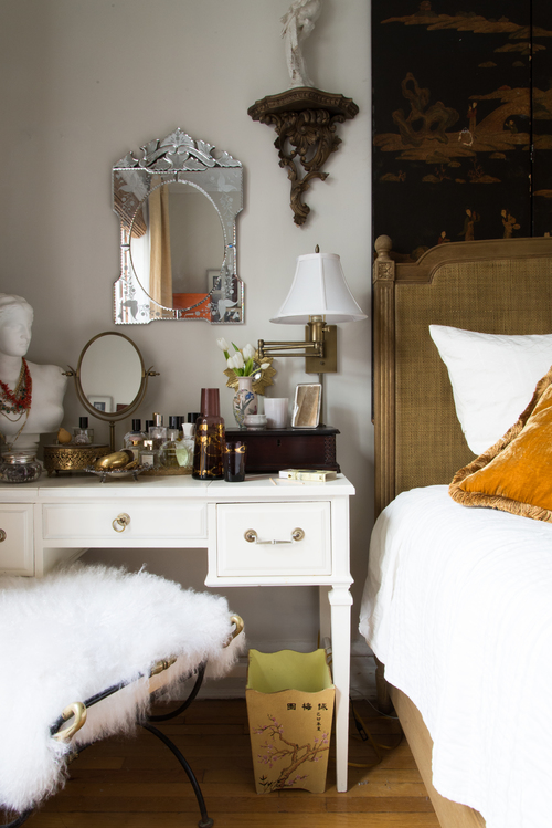Glamorous, small space vanity idea: use a nightstand (bedside table) as a vanity